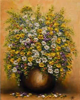 Polne kwiaty w brązowym dzbanku