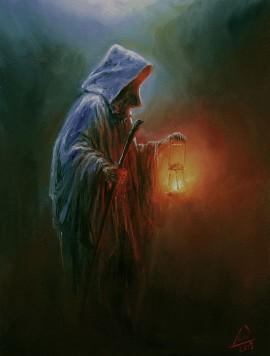 Mnich niosący światło