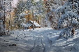 Zima z leśniczówką