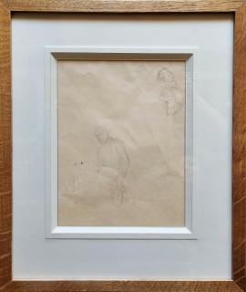 Klęczący mężczyzna i szkice twarzy ok.1873?/pieczątka/herb